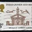 UNITED KINGDOM - CIRCA 1973: A stamp printed in Great Britain dedicated to 400th Anniversary of the Birth of Inigo Jones, shows St Paul's Church, Covent Garden, circa 1973 — Stock Photo