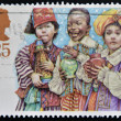 Foto Stock: UNITED KINGDOM - CIRCA 1994: A Stamp printed in Great Britain showing Three Kings Nativity Scene, circa 1994