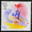 UNITED KINGDOM - CIRCA 1988: a stamp printed in the Great Britain shows Woman on Balance Beam, Sport, circa 1988 - Stock Photo