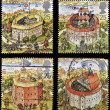 UNITED KINGDOM - CIRCA 1995: Four stamps printed in Great Britain dedicated to Reconstruction of Shakespeares Globe Theatre, circa 1995 — Stock Photo #12129983