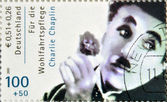 GERMANY - CIRCA 2001 : stamp printed in Germany showing actor Charles Chaplin, circa 2005 — Stock Photo