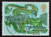UNITED KINGDOM - CIRCA 1975: A stamp printed in Great Britain shows Angel with Mandolin, circa 1975 — Stock Photo