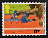 UNITED KINGDOM - CIRCA 1986: a stamp printed in the Great Britain shows Sprinter in the Starting Block, circa 1986 — Zdjęcie stockowe