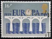 联合王国-大约 1984年: 在英国邮票显示欧罗巴的化学强化一级处理标志,大约在 1984年 — 图库照片