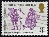 UNITED KINGDOM - CIRCA 1973: A stamp printed in Great Britain dedicated to 400th Anniversary of the Birth of Inigo Jones, shows court masque costumes, circa 1973 — Stock Photo
