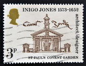 UNITED KINGDOM - CIRCA 1973: A stamp printed in Great Britain dedicated to 400th Anniversary of the Birth of Inigo Jones, shows St Paul's Church, Covent Garden, circa 1973 — Zdjęcie stockowe