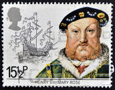 UNITED KINGDOM - CIRCA 1982: A stamp printed in Great Britain shows King Henry VIII and the Mary Rose, circa 1982 — Stock Photo