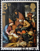 UNITED KINGDOM - CIRCA 1967: A stamp printed in Great Britain shows The Adoration of the Shepherds, School of Seville, circa 1967 — Stock Photo