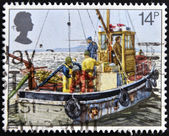 UNITED KINGDOM - CIRCA 1981: A stamp printed in Great Britain shows Cockle-dredging from Lindsey II, fishing, circa 1981 — Stock Photo