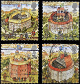 UNITED KINGDOM - CIRCA 1995: Four stamps printed in Great Britain dedicated to Reconstruction of Shakespeares Globe Theatre, circa 1995 — 图库照片
