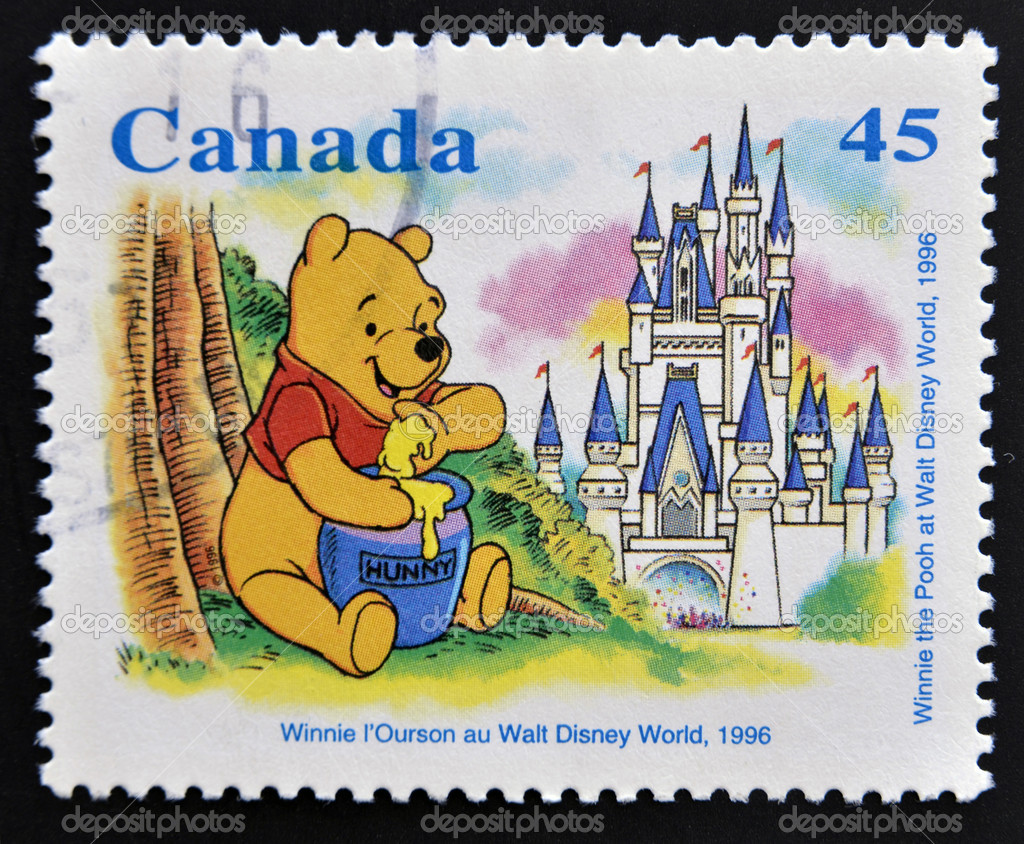 CANADA - CIRCA 1996: stamp printed in Canada shows Winnie the Pooh at Walt Disney World, circa 1996 — Stock Photo #12129697