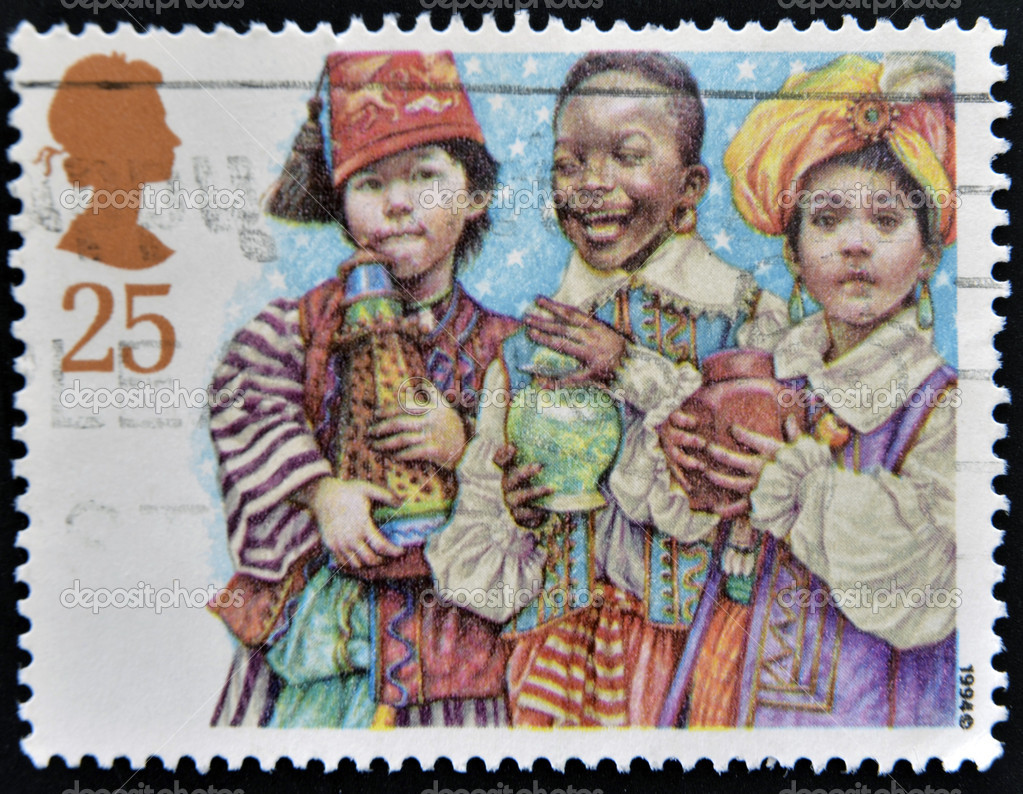 UNITED KINGDOM - CIRCA 1994: A Stamp printed in Great Britain showing Three Kings Nativity Scene, circa 1994  Stock Photo #12129946