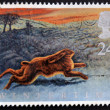 Stock Photo: UNITED KINGDOM - CIRC1992: stamp printed in Great Britain shows Hare on North Yorkshire Moors, circ1992