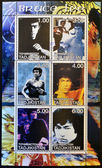 TAJIKISTAN - CIRCA 2001: Collection stamps printed in Tajikistan shows Bruce Lee, circa 2001 — Stok fotoğraf