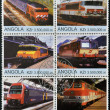 Royalty-Free Stock Photo: ANGOLA - CIRCA 2000: Collection stamps shows different trains, circa 2000