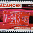 FRANCE - CIRCA 2009: A stamp printed in France devoted to the holidays, shows car license plate of Bonaire, a small island of the Antilles, circa 2009 — Stock Photo