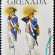 GRENADA - CIRCA 1976: A stamp printed in Grenada dedicated to american revolution bicentennial, shows sharpshooters, circa 1976 — Stock Photo