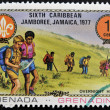 Stock Photo: GRENAD- CIRC1977: stamp printed in Grenaddedicated to Boy Scouts shows overnight hike, circ1977