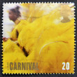 UNITED KINGDOM - CIRC1998: stamp printed in Great Britain shows Womin Yellow Feathered Costume, Carnival (Europa), circ1998 — Stock Photo #12365883