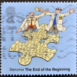 UNITED KINGDOM - CIRCA 2003: A stamp printed in Great Britain refers to the genome, the end of the beginning, circa 2003 — Stock Photo