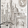 UNITED KINGDOM - CIRCA 1980: A stamp printed in Great Britain shows Montage of London Buildings, circa 1980 — Stock Photo