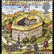 UNITED KINGDOM - CIRCA 1995: A stamp printed in Great Britain dedicated to Reconstruction of Shakespeares Globe Theatre, shows the rose, 1592, circa 1995 - ストック写真