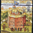 UNITED KINGDOM - CIRC1995: stamp printed in Great Britain dedicated to Reconstruction of Shakespeares Globe Theatre, shows globe, 1599, circ1995 — 图库照片 #12366135
