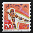 SWITZERLAND - CIRCA 1998: stamp printed in Switzerland shows Rollerblading, circa 1998 — Stock Photo
