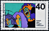 GERMANY - CIRCA 1975: A stamp printed in Germany dedicated to the fight against drugs in young, circa 1975 — ストック写真
