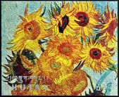 BHUTAN - CIRCA 1980: A stamp printed in Bhutan shows Vase with Twelve Sunflowers (detail) by Vincent Van Gogh, circa 1980 — Foto Stock