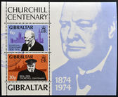 GIBRALTAR - CIRCA 1974 : Stamp printed in Gibraltar shows image of sir Winston Churchill, 1874-1974, circa 1974 — Stock Photo