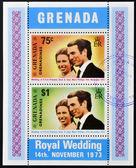 Grenada - ca 1973: stämpel tryckt i grenada visar kungligt bröllop pricess anna och kapten. mark phillips, ca 1973 — Stockfoto