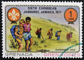 GRENADA - CIRCA 1977: A stamp printed in Grenada dedicated to the Boy Scouts shows overnight hike, circa 1977 — Stock Photo