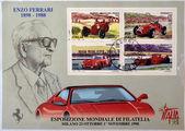 Италия - около 1988: коллекция марки напечатаны в Италии посвященный Энцо Феррари, показывает эволюция автомобиля ferrari на протяжении всей истории, около 1988 — Стоковое фото