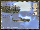 UNITED KINGDOM - CIRCA 1997: stamp printed in Great Britain featuring RAF Avro night bomber aircraft, circa 1997 — Stockfoto