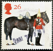 UNITED KINGDOM - CIRCA 1997: A stamp printed in Great Britain shows Lifeguards Horse and Trooper, circa 1997 — Stock Photo