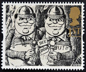 UNITED KINGDOM - CIRCA 1993: A stamp printed in Great Britain shows Tweedledum and Tweedledee (Alice Through the Looking-Glass), circa 1993 — Stock Photo