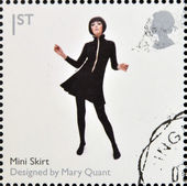 UNITED KINGDOM - CIRCA 2009: A stamp printed in Great Britain dedicates to Design Classics, shows Mini Skirt by Mary Quant, circa 2009 — Stock Photo