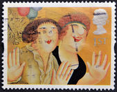 UNITED KINGDOM - CIRCA 1995: A stamp printed in Great Britain shows 'Girls on the Town' by Beryl Cook, circa 1995 — Stock Photo