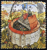 UNITED KINGDOM - CIRCA 1995: A stamp printed in Great Britain dedicated to Reconstruction of Shakespeares Globe Theatre, shows the globe, 1614, circa 1995 — 图库照片
