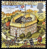 UNITED KINGDOM - CIRCA 1995: A stamp printed in Great Britain dedicated to Reconstruction of Shakespeares Globe Theatre, shows the rose, 1592, circa 1995 — Foto Stock