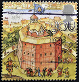 UNITED KINGDOM - CIRCA 1995: A stamp printed in Great Britain dedicated to Reconstruction of Shakespeares Globe Theatre, shows the globe, 1599, circa 1995 — Stock Photo