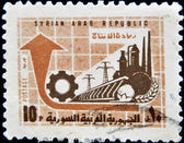 SYRIA - CIRCA 1970: stamp printed in Syria shows factory and power station, circa 1970. — Foto Stock