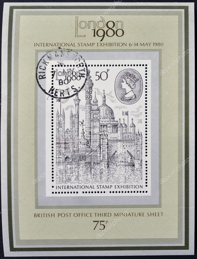 UNITED KINGDOM - CIRCA 1980: A stamp printed in Great Britain shows  Montage of London Buildings, circa 1980  Stock Photo #12366013