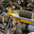 Electric log splitter with wood and trunks — Stock Photo