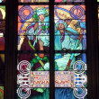 Religious stained glass windows in Prague, Czech Republic — Stock Photo