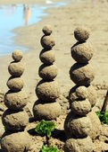Sand balls on the beach, concept of balance — Stock Photo