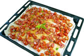 Uncooked pizza on white — Stock Photo