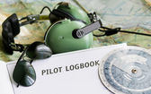 Sunglasses and aviation tools — Stock Photo