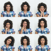 Young girl collection of expressions on white background — Stock Photo